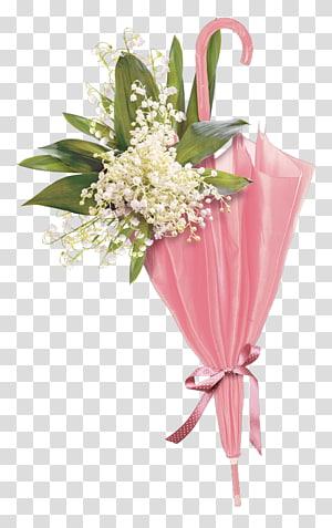 bunga putih petaled dalam payung merah muda, Kertas Bunga Payung Pakaian vintage, payung Pink png