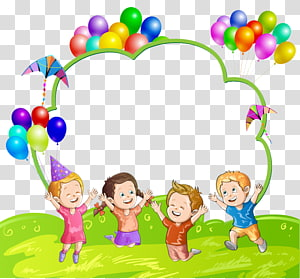 Balon Anak, Balon Anak dan Balon, empat anak lompat ilustrasi PNG clipart