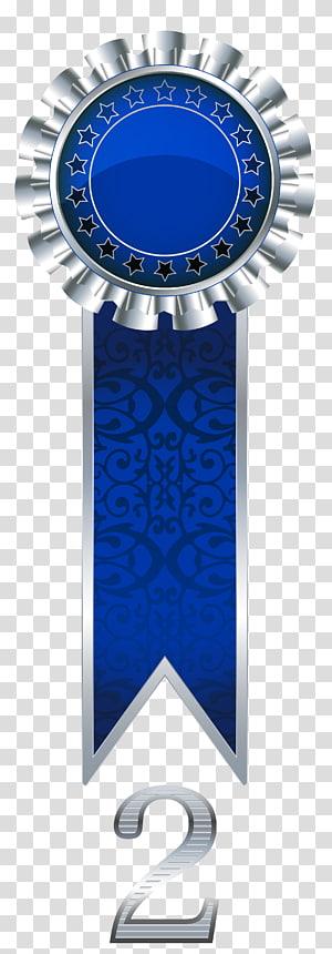 grafis hadiah pita biru dan perak,, Hadiah Rosette Perak png