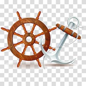 ilustrasi dan jangkar kapal coklat, roda Kapal, jangkar png