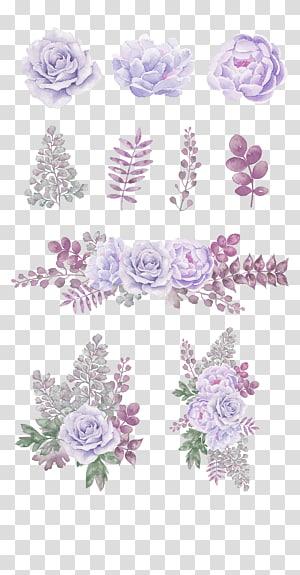 , Lavender pola dekoratif bunga segar, ilustrasi bunga ungu petaled png