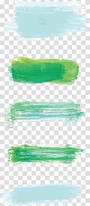 Lukisan Cat Air Kuas Tinta, kuas Cat Air, ilustrasi cat hijau dan kuning png