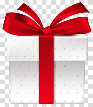 kotak hadiah putih dan merah, Kotak hadiah Kado, Keranjang Hadiah Putih dengan Red Bow png