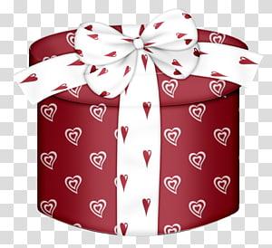 biru dan putih jantung cetak kotak hadiah ilustrasi, Kotak hadiah Natal Kertas, Red Heart Round Gift Box png