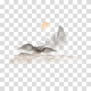 Lukisan cat air Sunset, Sunset gunung barat, ilustrasi bulan dan gunung png