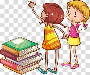 dua gadis belajar menulis, Membaca Buku Anak, Buku untuk anak-anak untuk belajar poster kreatif png