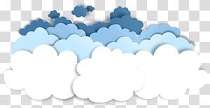 Cloud Pemotong Kertas, pola dekoratif efek pemotongan awan kertas, stiker putih, teal, dan awan biru png