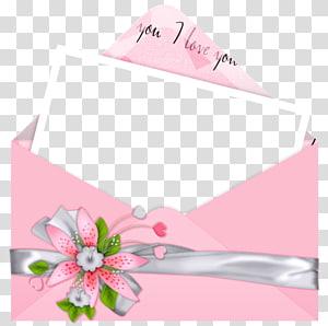 amplop bunga merah muda dengan ilustrasi surat, Love Letter Romance Friendship, Pink Letter I Love You png
