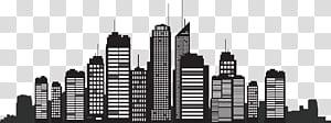 Siluet Kota New York, Skyline Cityscape, Siluet Bangunan, ilustrasi gedung tinggi PNG clipart