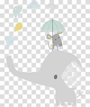 Gajah Bayi Anak Hathi Jr. Ilustrasi, Kartun bayi gajah, tikus di atas gajah memegang payung ilustrasi png