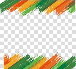 Layanan Desain Interior Brush, perbatasan brush Warna, filter trokes brush hijau, oranye, dan kuning PNG clipart