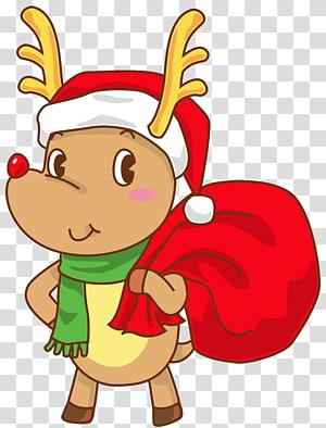 rusa memegang ilustrasi karung, Rudolph Santa Claus Hat Natal SantaCon, Rudolph Natal dengan Santa Hat png