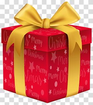 ilustrasi kotak hadiah merah dan kuning, hadiah Natal, Merry Christmas Red Gift png