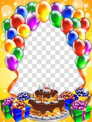balon dan kue, kue Ulang Tahun Selamat Ulang Tahun untuk Anda, Bingkai Ulang Tahun Gratis png