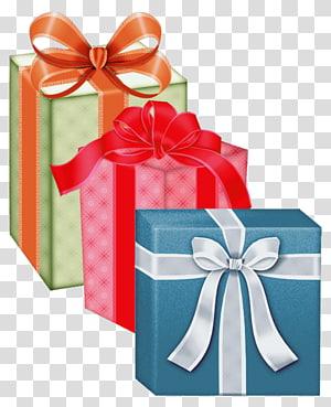 tiga kotak hadiah biru, hijau, dan merah, Kotak hadiah Natal, Kotak Hadiah png