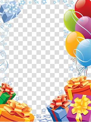 Kartu Selamat Ulang Tahun!bingkai kartu ucapan, Bingkai Ulang Tahun, balon dan ilustrasi hadiah png