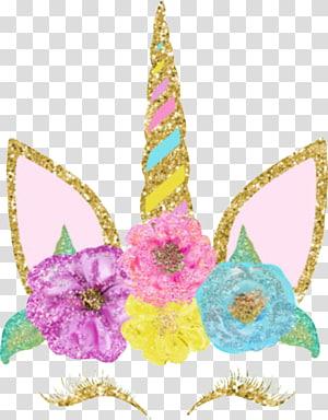 pink dan emas unicorn, Mahkota Kelopak Bunga Unicorn, Flores unicornio png