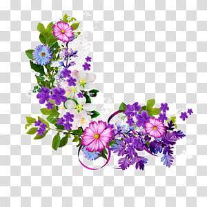 Bunga, Buket perbatasan bunga ungu, bunga putih dan hijau png