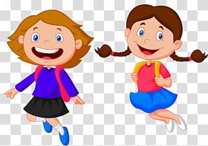 ilustrasi dua gadis melompat, Kartun Anak Sekolah Siswa, anak-anak sekolah png