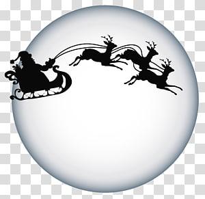 Santa Claus dan kereta luncur, rusa Santa Claus rusa Santa Claus Silhouette, Santa Clause dan Moon Naungan png