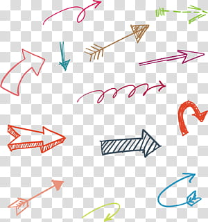 panah yang digambar tangan, berbagai macam seni panah png