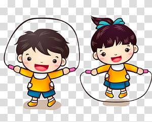 Kartun Anak Animasi, Kartun anak-anak, anak laki-laki dan perempuan bermain ilustrasi lompat tali PNG clipart