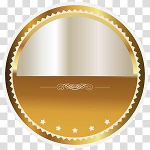 Lencana, Lencana Segel Emas dan Putih, logo bulat kuning dan abu-abu PNG clipart