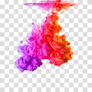 percikan cat merah muda, ungu, merah, dan oranye, cat Acrylic Color Ink Rainbow, Water Shen Mo png