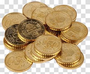 banyak koin berwarna emas, Cent, Euro Cents png