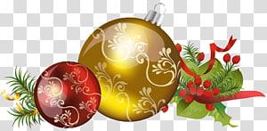 Ornamen Natal, Balls Natal dengan Ornamen, ilustrasi pernak-pernik merah dan emas png