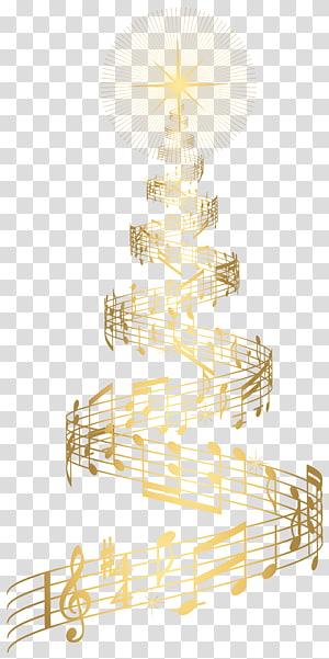 catatan musik membentuk pohon Natal, hiasan pohon Natal Natal, Pohon Natal Musik Emas png