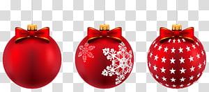 tiga ilustrasi perhiasan Natal merah, ornamen Natal Hari Natal, Bola Natal Merah yang Indah PNG clipart