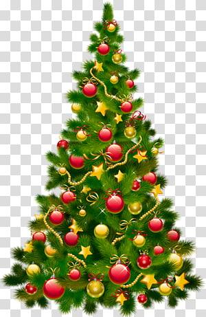 hijau dan merah pohon Natal, hiasan pohon Natal hiasan Natal, Pohon Natal Besar dengan Ornamen PNG clipart