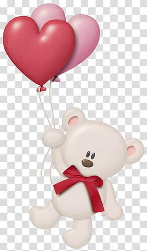 Balon Jantung Beruang, Boneka Putih dengan Balon Jantung, ilustrasi balon memegang balon png