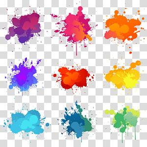 Ilustrasi cat Ilustrasi, Latar belakang percikan pigmen warna, percikan cat berbagai macam warna png