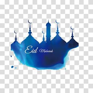 Ilustrasi Masjid Idul Fitri Ramadhan, bangunan biru Cat air Corban, grafis Idul Fitri PNG clipart