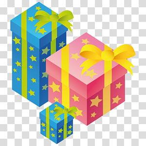 ilustrasi kotak hadiah biru dan merah muda, kotak hadiah kuning, Hadiah png