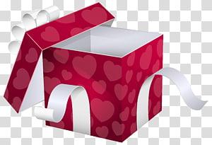 membuka kotak hadiah merah dan putih, Kotak pembungkus Kado Kertas, Kotak Hadiah Merah Muda Terbuka png
