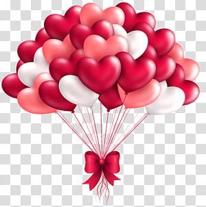 Balon Jantung, Balon Jantung Cantik, karya seni digital balon jantung putih, merah muda, dan merah png