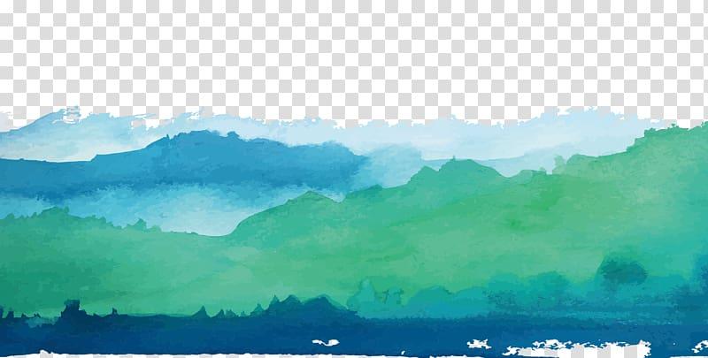 ilustrasi hutan hijau dan biru, Pemandangan Cat Air Lukisan Cat Air Hijau Shan shui, Perbatasan Pemandangan Cat Air Hijau png