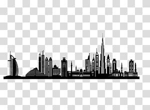 Dubai Silhouette Skyline, bangunan kota PNG clipart