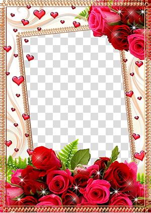 bingkai Flower Rose, Mood Frame s, bingkai digital mawar merah muda dan merah png