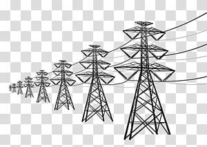 Menara transmisi hitam, Tegangan tinggi Kabel tegangan tinggi Transmisi daya listrik, kawat tegangan tinggi png