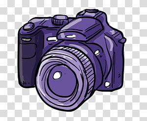 kamera DSLR ungu, Canon EOS Digital Kamera SLR Kartun, Kartun yang dilukis dengan tangan ikon kamera SLR ungu png