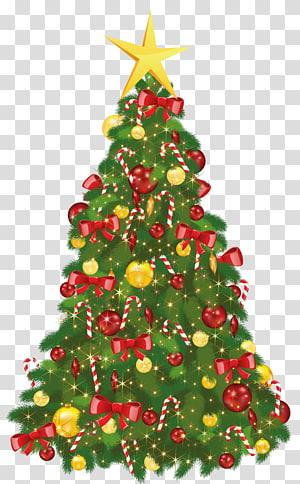 Pohon natal dengan perhiasan, pohon natal hari natal santa claus, pohon natal dengan bintang png