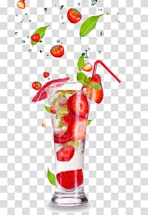 irisan stroberi dalam gelas minum, Koktail Minuman ringan Jus Mojito Air berkarbonasi, jus buah dan gelas minuman bahan HD PNG clipart