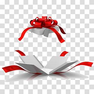 Kotak Hadiah Natal, Buka kotak hadiah, pita hadiah merah png