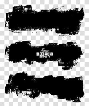 Kuas tinta, sapuan kuas bahan lukisan gaya tinta cina, latar belakang hitam dengan Background EPS 10 overlay teks png