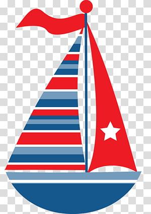 ilustrasi perahu layar merah dan biru, Transportasi kapal layar Maritim, bahari png