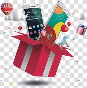 Sepotong pengadilan Hadiah Game Smartphone, Kotak hadiah terbuka terbang dari telepon, dua smartphone Android Vivo putih png